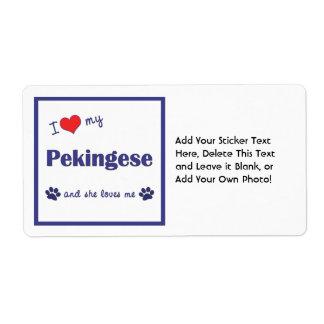 I Love My Pekingese (Female Dog) Label