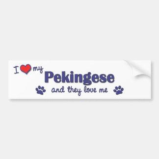 I Love My Pekingese Multiple Dogs Bumper Sticker