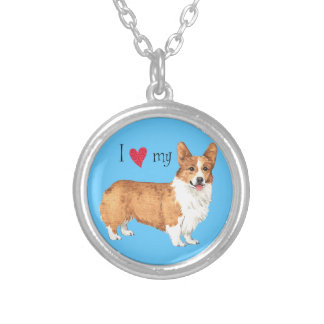 I Love my Pembroke Welsh Corgi Silver Plated Necklace