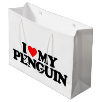 I LOVE MY PENGUIN LARGE GIFT BAG
