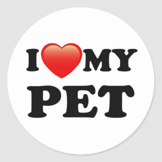 I LOVE MY PET MASCOT ROUND STICKER