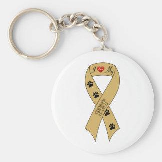 I Love My Pet Ribbon Keychain