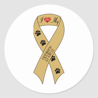 I Love My Pet Ribbon Round Stickers