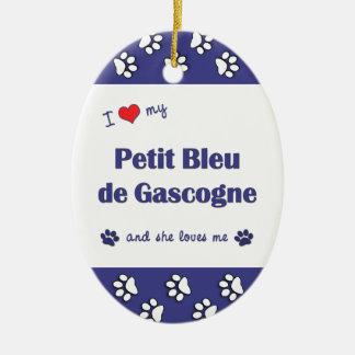 I Love My Petit Bleu de Gascogne (Female Dog) Double-Sided Oval Ceramic Christmas Ornament