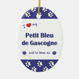 I Love My Petit Bleu de Gascogne (Male Dog) Double-Sided Oval Ceramic Christmas Ornament