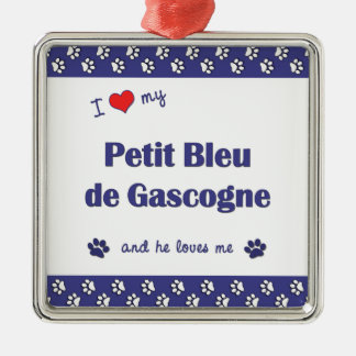 I Love My Petit Bleu de Gascogne (Male Dog) Square Metal Christmas Ornament