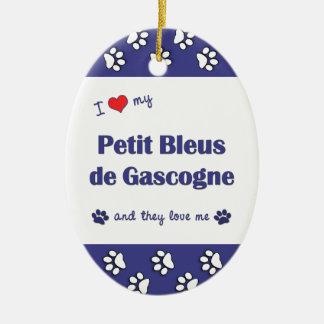 I Love My Petit Bleus de Gascogne (Multiple Dogs) Double-Sided Oval Ceramic Christmas Ornament
