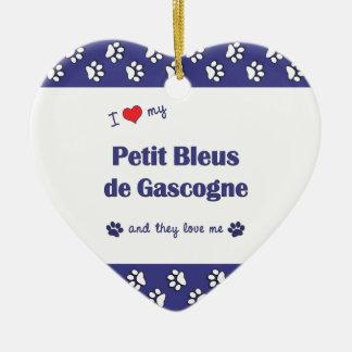 I Love My Petit Bleus de Gascogne (Multiple Dogs) Double-Sided Heart Ceramic Christmas Ornament