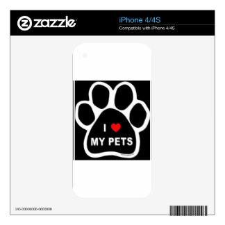 I Love My Pets iPhone 4 Decal