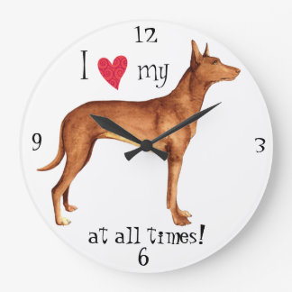 I Love my Pharaoh Hound Large Clock