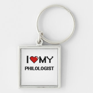 I love my Philologist Silver-Colored Square Keychain