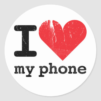 I Love My Phone Classic Round Sticker
