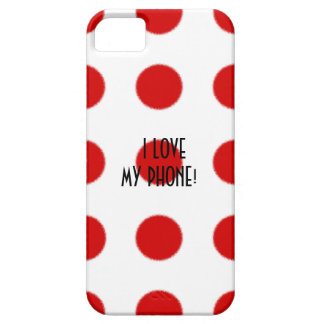 I LOVE MY PHONE! RED SPOT PATTERN WHITE PHONE CASE