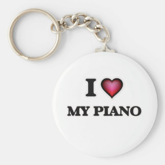 I Love My Piano Keychain