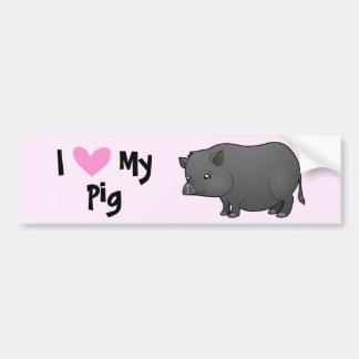 I Love My Pig Bumper Sticker