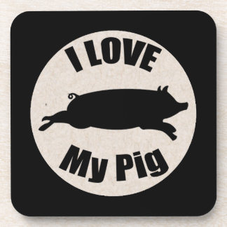 I Love My Pig Cork Coasters (6)