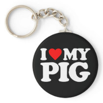 I LOVE MY PIG KEYCHAIN