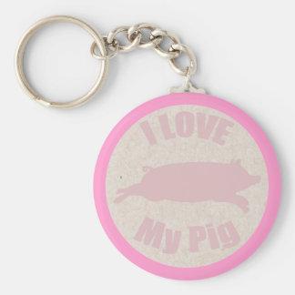 I Love My Pig Keychain