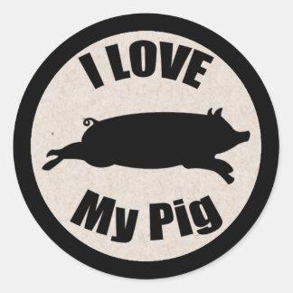 I Love My Pig Sticker