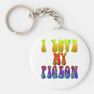 I Love My Pigeon Basic Round Button Keychain