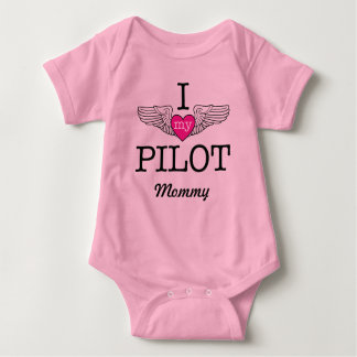 I Love My Pilot Mommy with wings graphic Baby Bodysuit