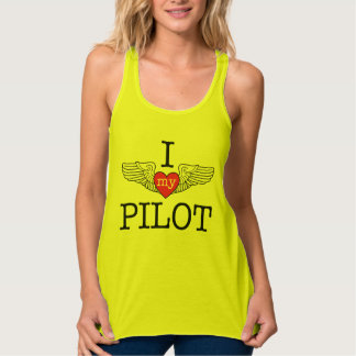 I Love My Pilot with pink heart wings Tank Top
