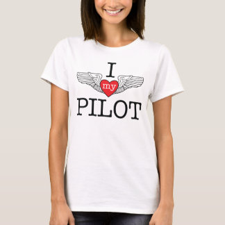 I Love My Pilot with red heart wings T-Shirt