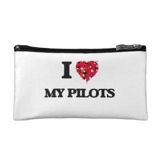 I Love My Pilots Cosmetics Bags