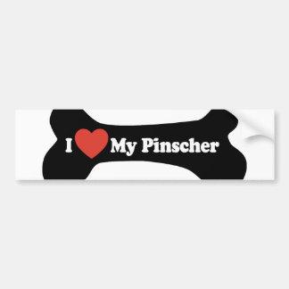 I Love My Pinscher - Dog Bone Car Bumper Sticker
