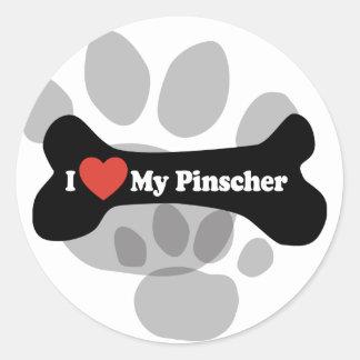 I Love My Pinscher - Dog Bone Classic Round Sticker