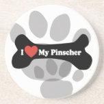I Love My Pinscher - Dog Bone Drink Coaster