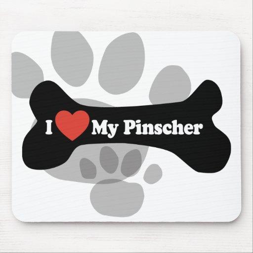 I Love My Pinscher - Dog Bone Mousepad