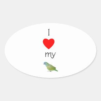 I Love My Pionus (pic) Oval Sticker