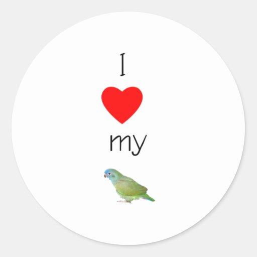 I Love My Pionus (pic) Round Sticker