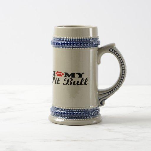 I Love My Pit Bull 18 Oz Beer Stein