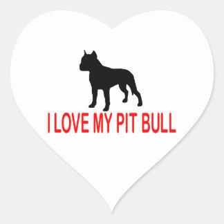 I LOVE MY PIT BULL 2730 HEART STICKER