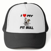 I LOVE MY PIT BULL - ADD YOUR OWN PHOTO - HAT/CAP TRUCKER HAT
