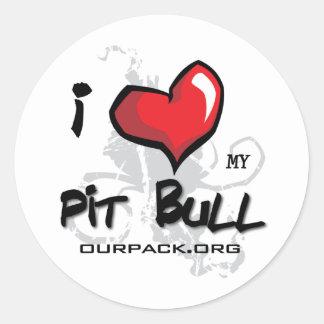 I Love My Pit Bull! Classic Round Sticker