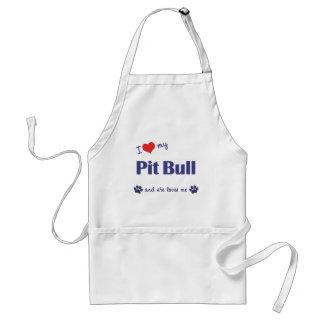 I Love My Pit Bull (Female Dog) Adult Apron