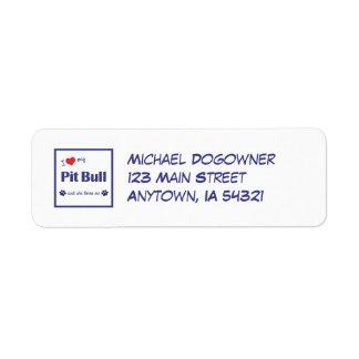 I Love My Pit Bull (Female Dog) Return Address Label