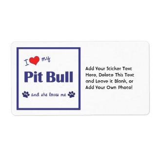 I Love My Pit Bull (Female Dog) Label