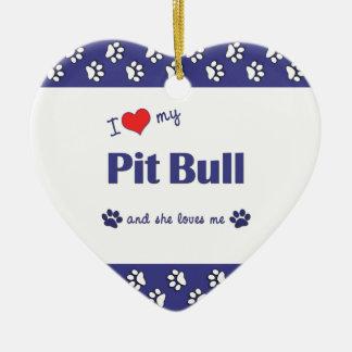 I Love My Pit Bull (Female Dog) Christmas Ornaments