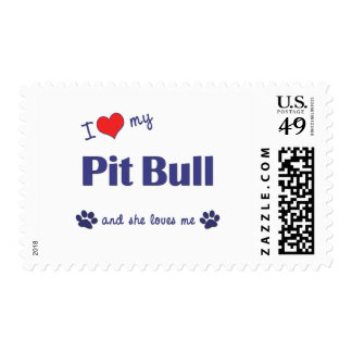 I Love My Pit Bull (Female Dog) Stamps