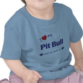 I Love My Pit Bull (Female Dog) T Shirt
