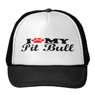 I Love My Pit Bull Trucker Hat