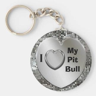 I Love My Pit Bull Heart Keychain