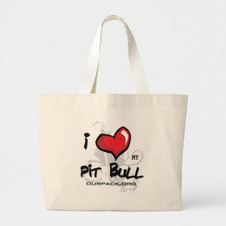 I Love My Pit Bull! Large Tote Bag