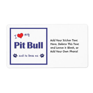 I Love My Pit Bull (Male Dog) Personalized Shipping Labels