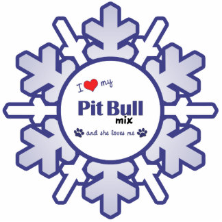 I Love My Pit Bull Mix (Female Dog) Photo Sculptures