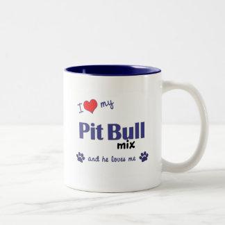 I Love My Pit Bull Mix (Male Dog) Two-Tone Coffee Mug